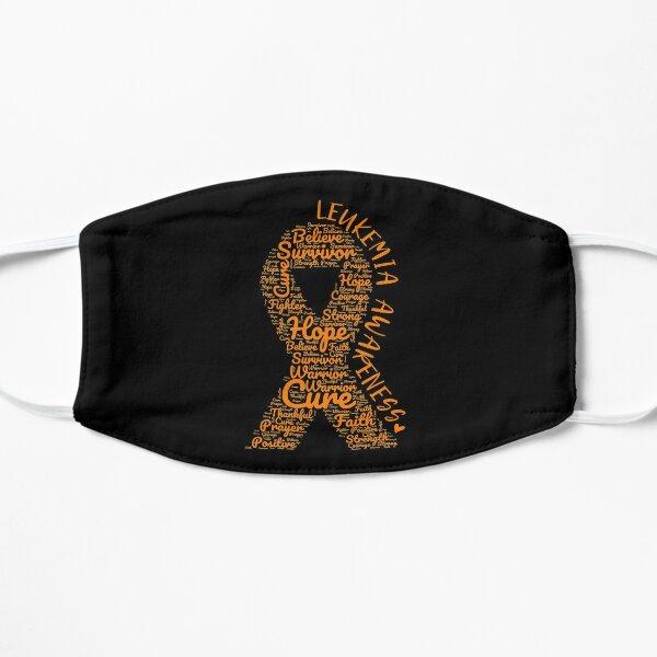 Leukemia Awareness Orange Ribbon With Positive Words Flat Mask