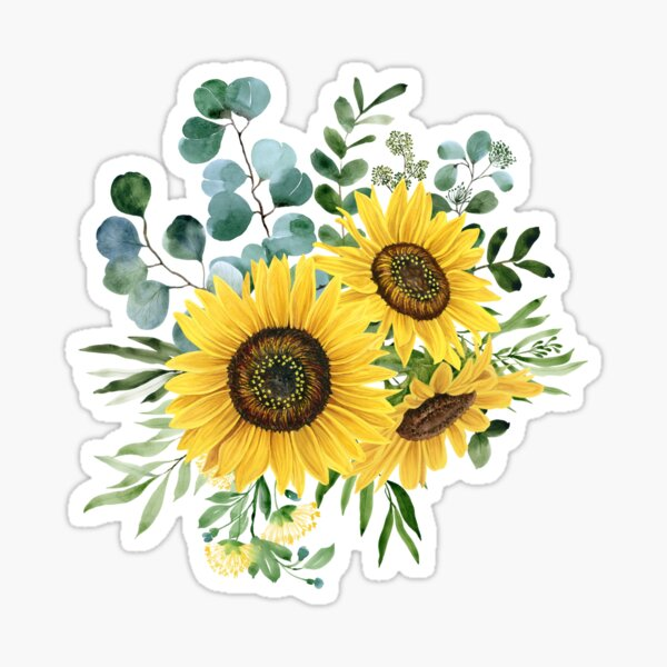Sunflower and Eucalyptus  Sticker
