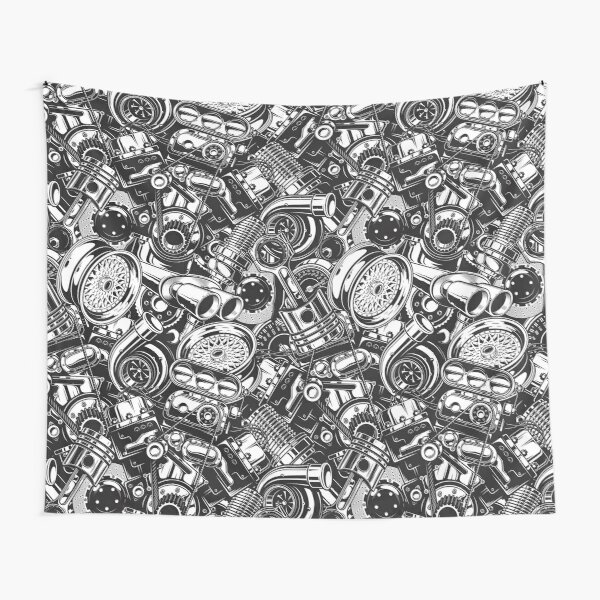 Automobile Spare Parts - Car Engine, Piston and Wheels - Petrol Head Auto Garage Art Tapestry
