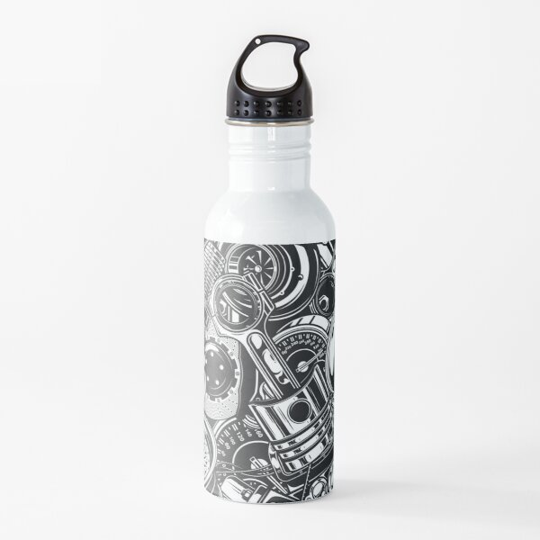 Automobile Spare Parts - Car Engine, Piston and Wheels - Petrol Head Auto Garage Art Water Bottle