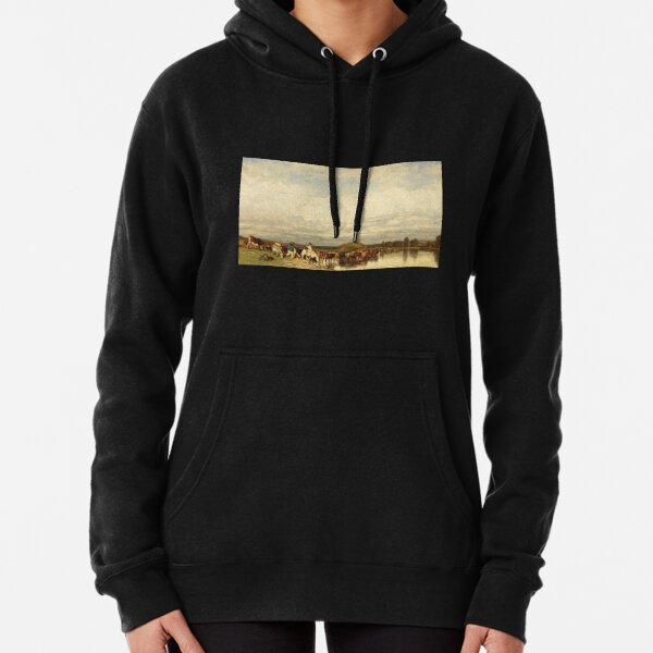 Cows Crossing a Ford Pullover Hoodie