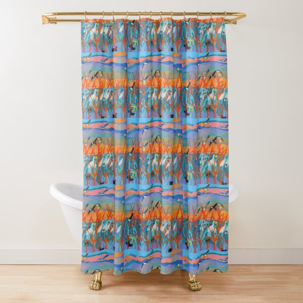 Nine Leaves in the Wind Shower Curtain