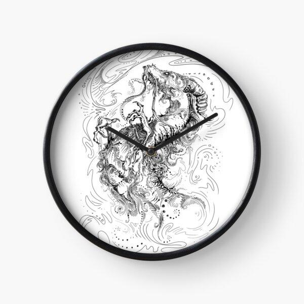 Chinese Dragon Black Line Design Clock