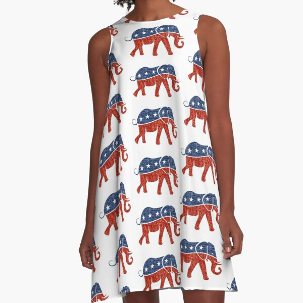 glitter print republican elephant  A-Line Dress