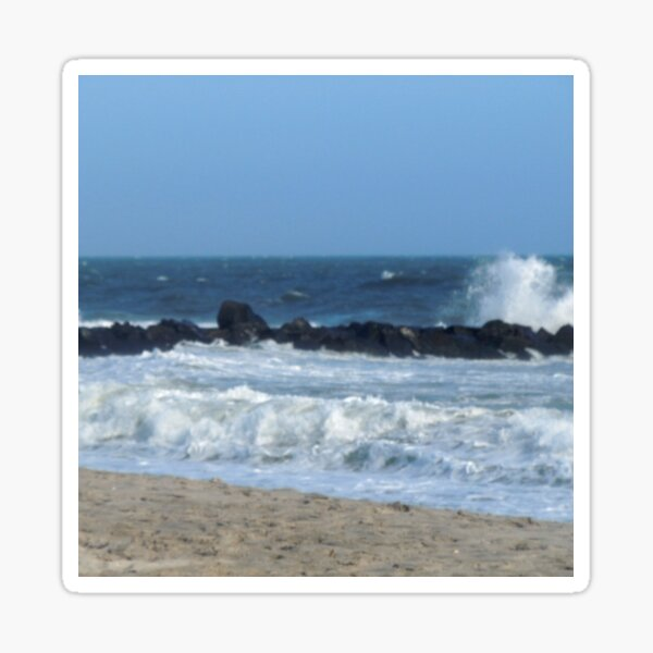Ocean Beach Rocks Photography Cape May, New Jersey photo Sticker