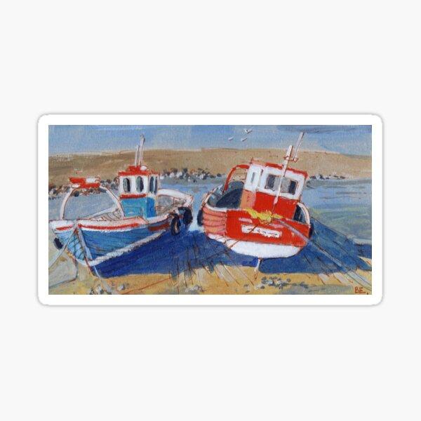Fishing Boats at Lowtide Sticker