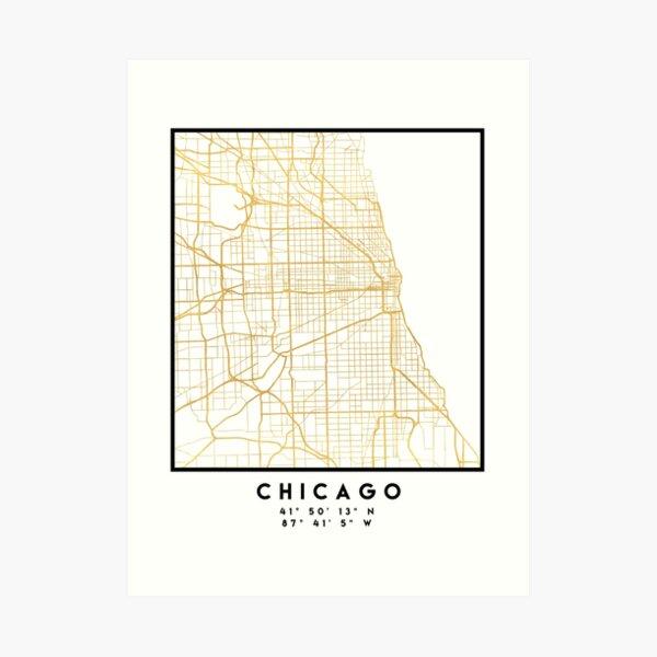 CHICAGO ILLINOIS CITY STREET MAP ART Kunstdruck