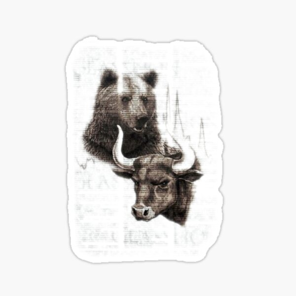 Bulls and bears in the news Sticker