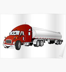 Semi Truck Red Silver Tanker Trailer Cartoon Poster