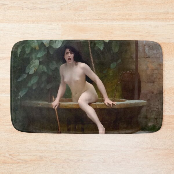 TRUTH COMING OUT OF HER WELL TO SHAME MANKIND - JEAN-LEON GEROME Bath Mat