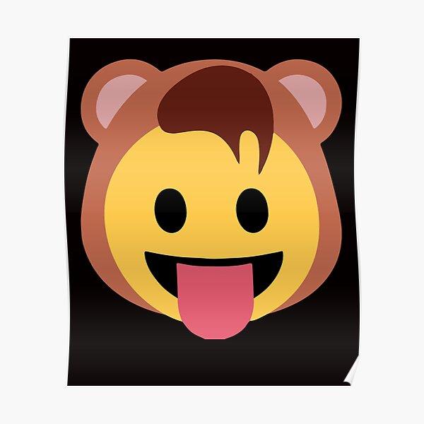 Oso traje de emoji lengua Póster