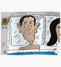Barack Obama caricature after the Mayan calendar Poster