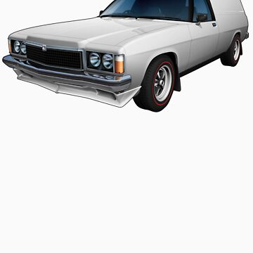 Illustrated HZ Holden Panel Van - White by tshirtgarage