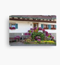 House and Flowers Canvas Print