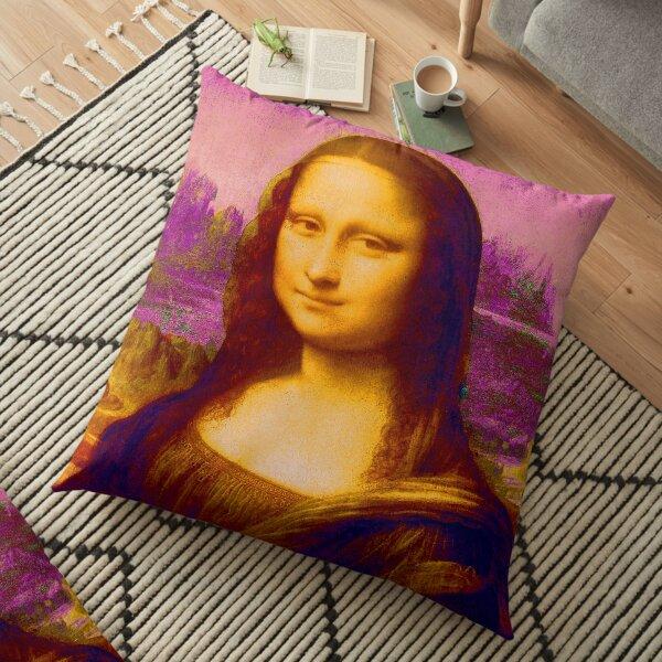 Mona Lisa in Pink da Vinci Renaissance Art Floor Pillow