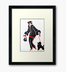 WOMAN WITH RED COAT AND BLACK DOG Framed Print