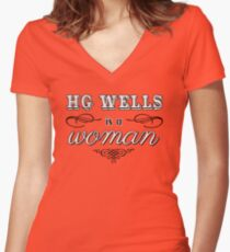 HG Wells is a woman Women's Fitted V-Neck T-Shirt