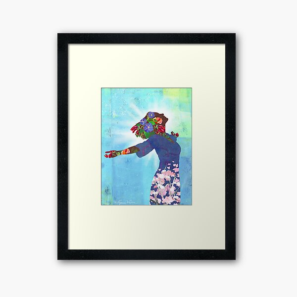 Behold God's Beauty in You Floral Collage Framed Art Print