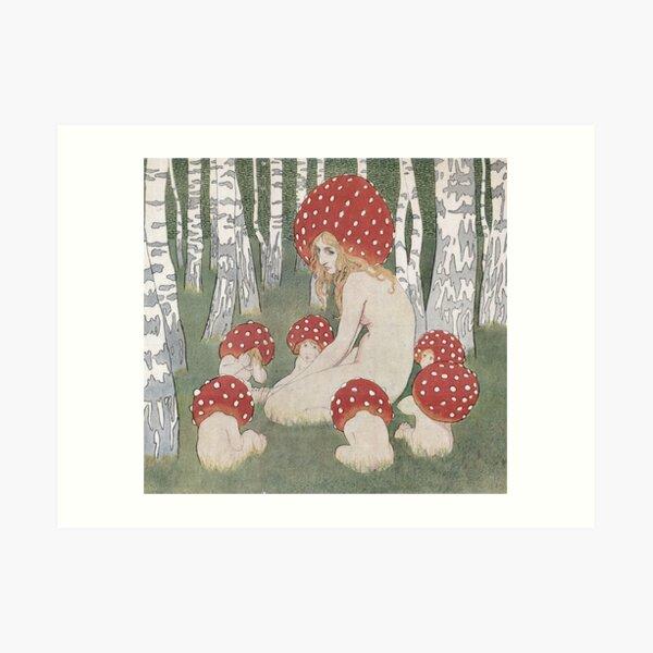 MOTHER MUSHROOM WITH HER CHILDREN - EDWARD OKUN Art Print