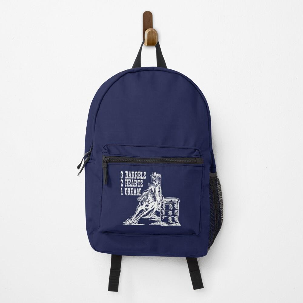 3 Barrels, 2 Hearts, 1 Dream Barrel Racing Design Backpack