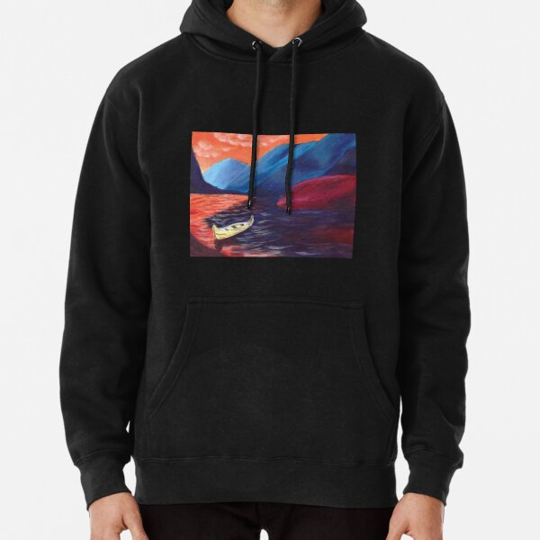 LA BARQUE JAUNE, landscape painting, bright colors, mountains Pullover Hoodie