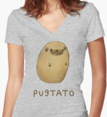 Pugtato Women's Fitted V-Neck T-Shirt