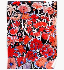 Red Flower Etching No.2 Poster