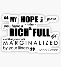 John Green Quote - Mental Illness Sticker