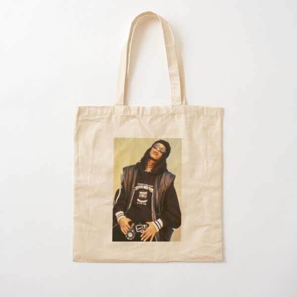 Aaliyah Black Leather Cotton Tote Bag