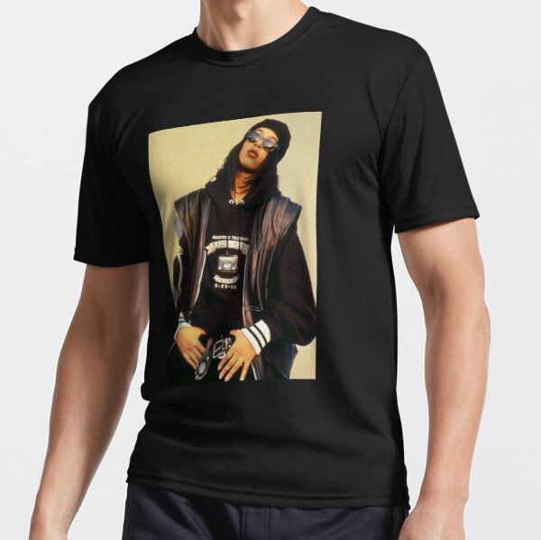 Aaliyah Black Leather Active T-Shirt