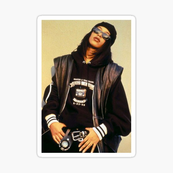 Aaliyah Black Leather Sticker