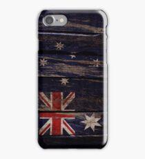 Vintage Australia Flag - Cracked Grunge Wood iPhone Case/Skin
