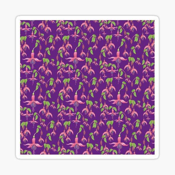 Watercolour Fuchsia Flower Pattern - Purple Sticker