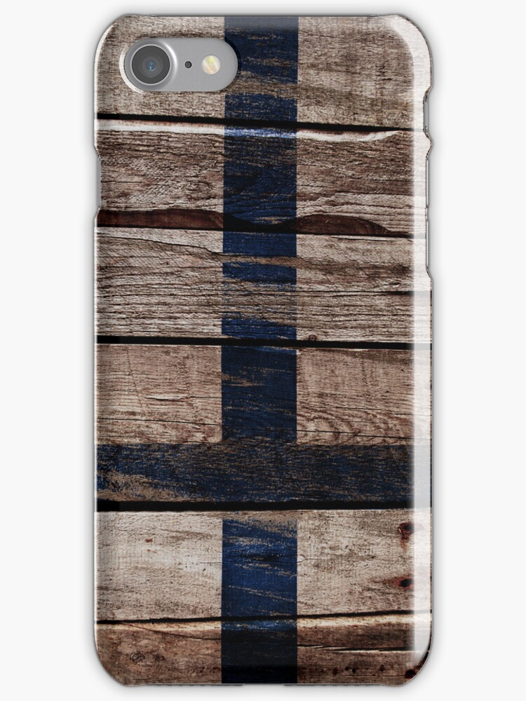 Vintage Finland Flag - Cracked Grunge Wood by UltraCases