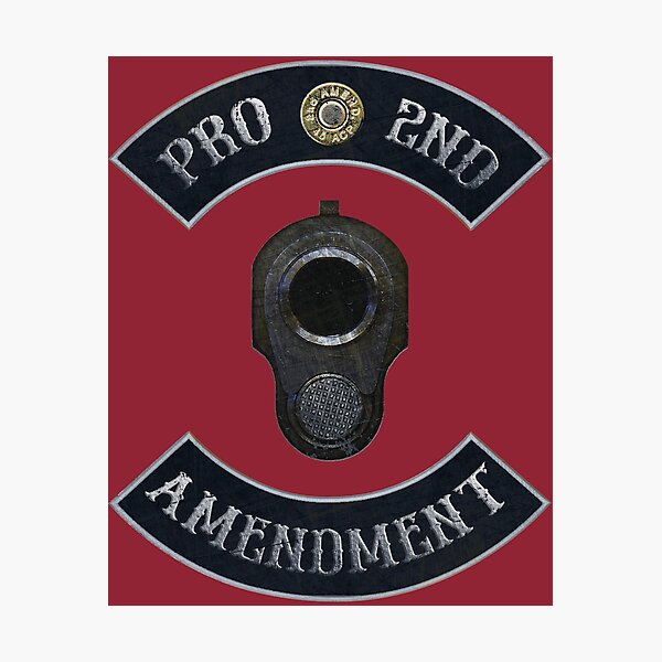 Pro 2nd Amendment in Rockers with M1911 Colt 45 Muzzle Independence Red Background Photographic Print
