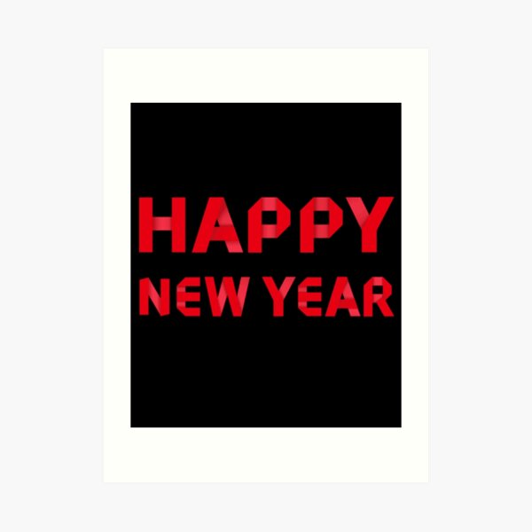 Happy New Year Red Color Art Print