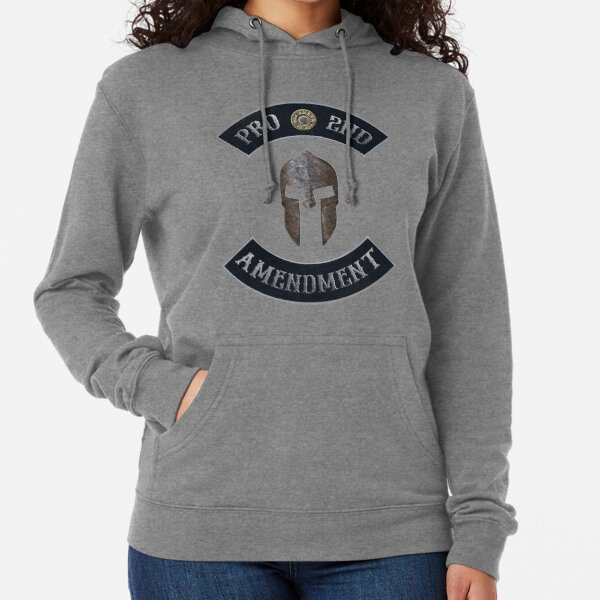 Pro 2nd Amendment in Rockers with Spartan Helmet with Independence Red Background Lightweight Hoodie