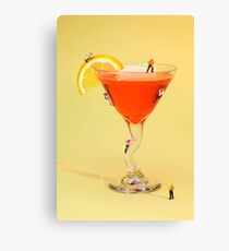 Climbing on red wine cup Canvas Print