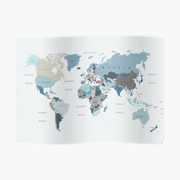 Map of the World in Neutral tones of Blue and Beige Poster