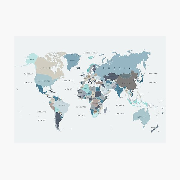 Map of the World in Neutral tones of Blue and Beige Photographic Print