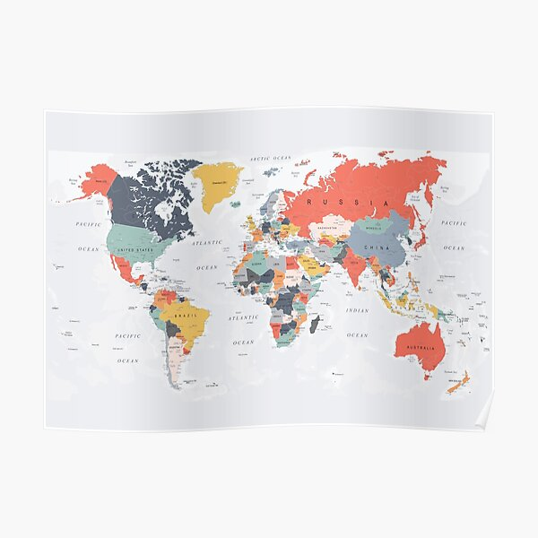 Map of the World in Happy Colors Poster