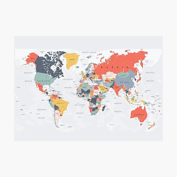 Map of the World in Happy Colors Photographic Print
