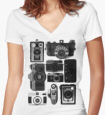 Retro Cameras Women's Fitted V-Neck T-Shirt
