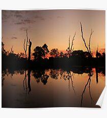 river side sunset. Poster