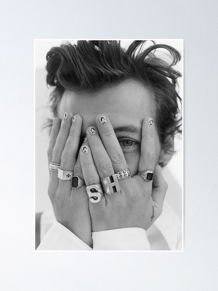 Alternate view of harrystyles black and white Poster