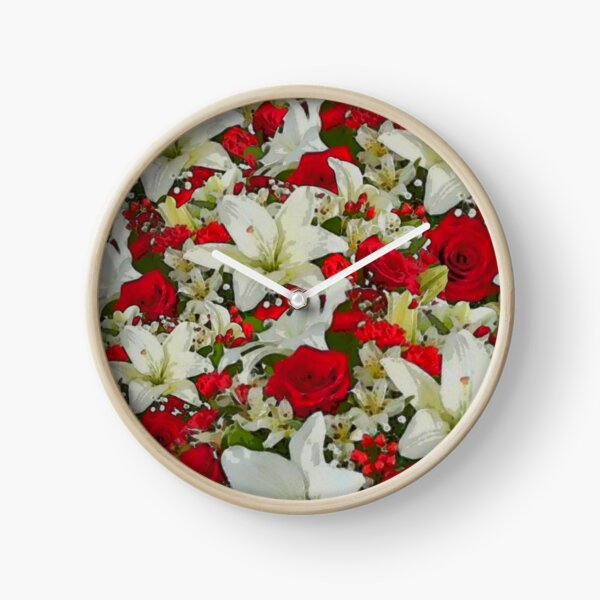 Holiday Lillies and Roses Clock