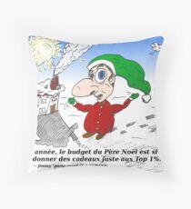 Caricature du Père Noël et le Top 1 pour cent Throw Pillow