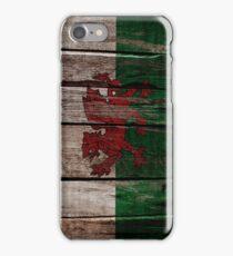Vintage Wales Flag - Cracked Grunge Wood iPhone Case/Skin