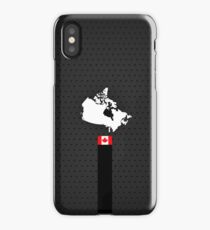 Canada Flag and Map - Black Stripe on Dark gray iPhone Case/Skin