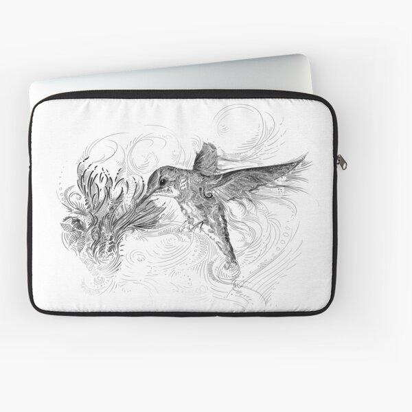 Hummingbird and Flower Black Line Design Laptop Sleeve